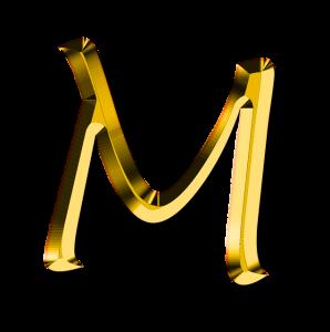 M, 文字